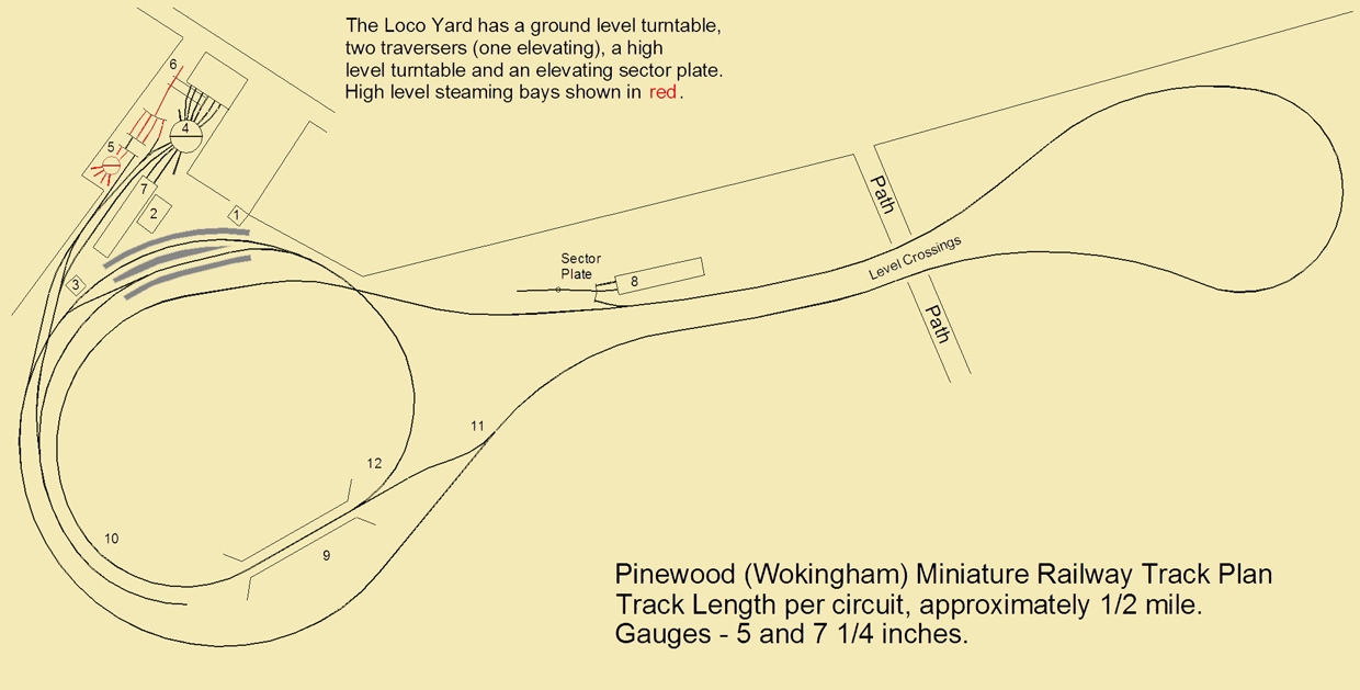 Pinewood (Wokingham) Miniature Railway Track Plan and Features